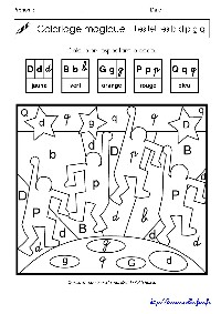 Coloriage magique : lettres p q d b g