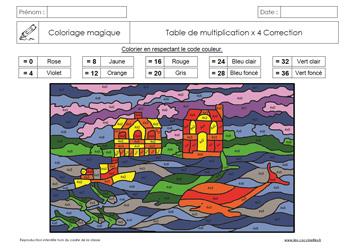 Coloriages magiques gs cp ce1 ce2 les coccinelles for Table de 4 et 5